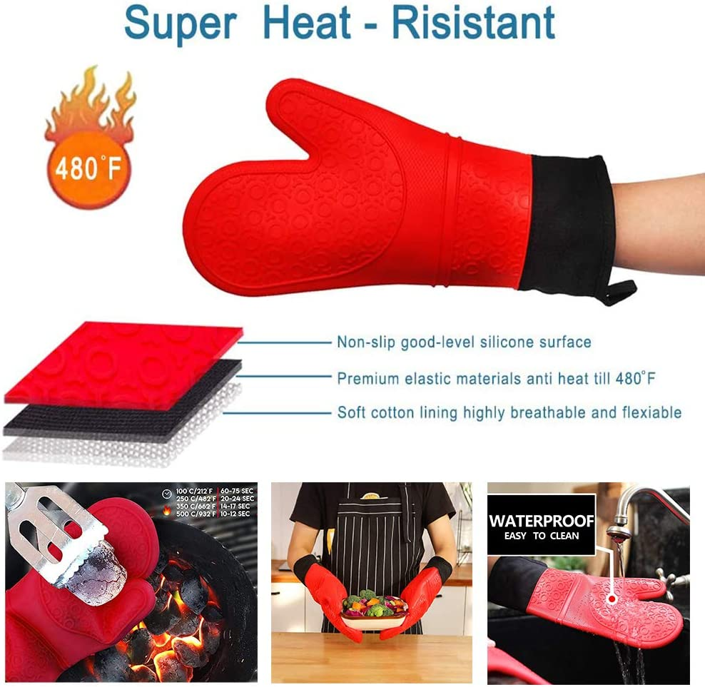 6pcs Silicone and Cotton Double-Layer Heat Resistant Gloves,Heavy Duty Cooking Gloves with Basting Brushes and Wall Hook for BBQ Cooking Baking Grilling Microwave Machine Extra Long Professional Silicone Oven Mitts//Non-Slip Flexible Oven Gloves Set