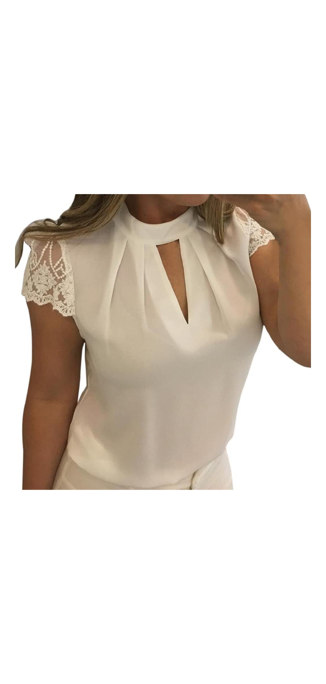Women Casual Lace Splice V-neck Short Sleeve Chiffon
