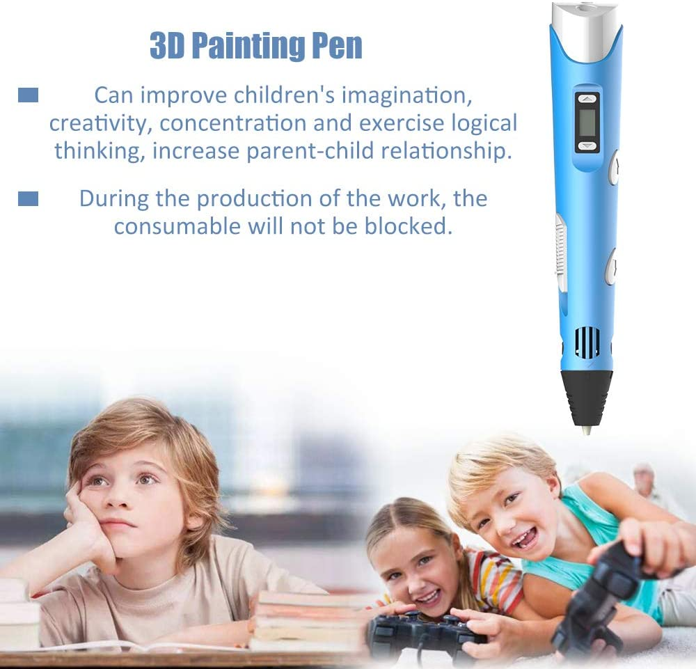 Baugger Intelligent 3D Printing Pen Digital Display Intelligent 3D Printing Pen High Temperature 3D Graffiti Painting Pens with USB Cable