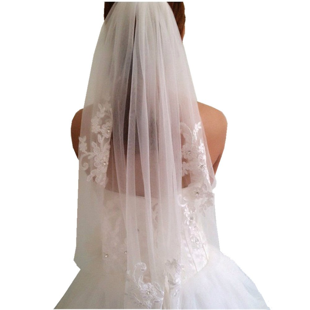 1 T White/Ivory Wedding Bridal Veil With Comb Elbow length Wedding Veil Lace Bridal Veil (Ivory)