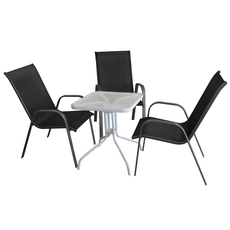 4tlg. Bistromöbel-Set Bistrotisch, Glastisch, Metall, 60x60cm, Weiß ...