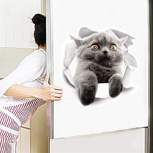 YUELANG Gatos Pared 3D Etiqueta Aseo Etiquetas Agujero Ver Perros ...
