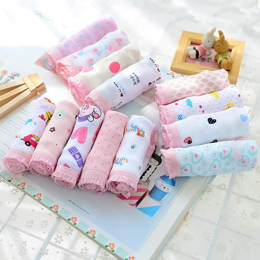 Horoshop 6Pcs//Set Girls Soft Cotton Underwear,Cartoon Animal Printed Briefs Children Panties Random Style for 1-12T