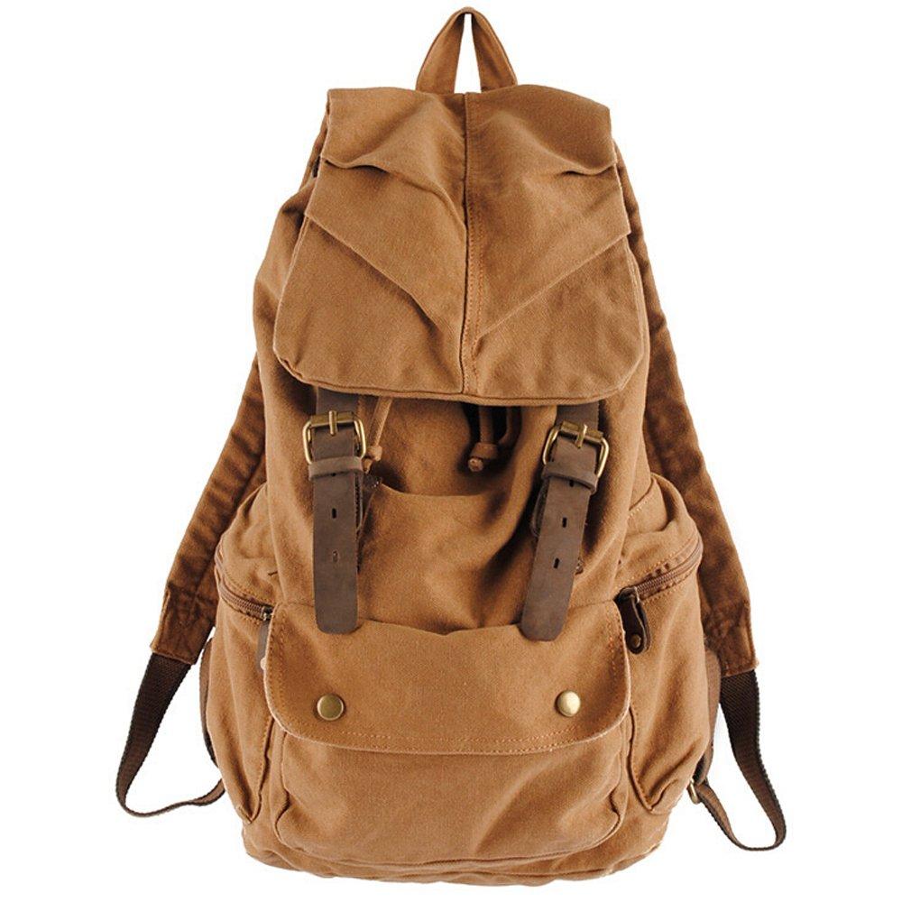 8e91017741f Boshiho Specially High Density Thick Canvas Vintage Leather Canvas Backpack  Shoulder Bag Rucksack Schoolbag 30%
