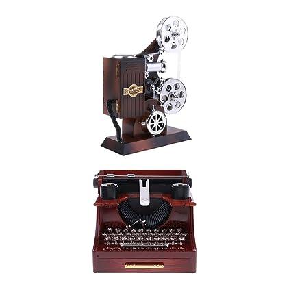 non-brand MagiDeal Proyector De Cine Vintage Cinematógrafo Y Máquina De Escribir Caja De Música