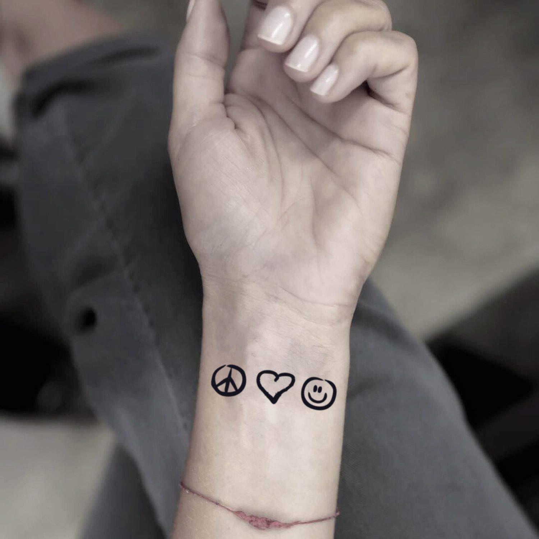 Tatuaje Temporal de Paz, amor y felicidad (2 Piezas) - www.ohmytat ...
