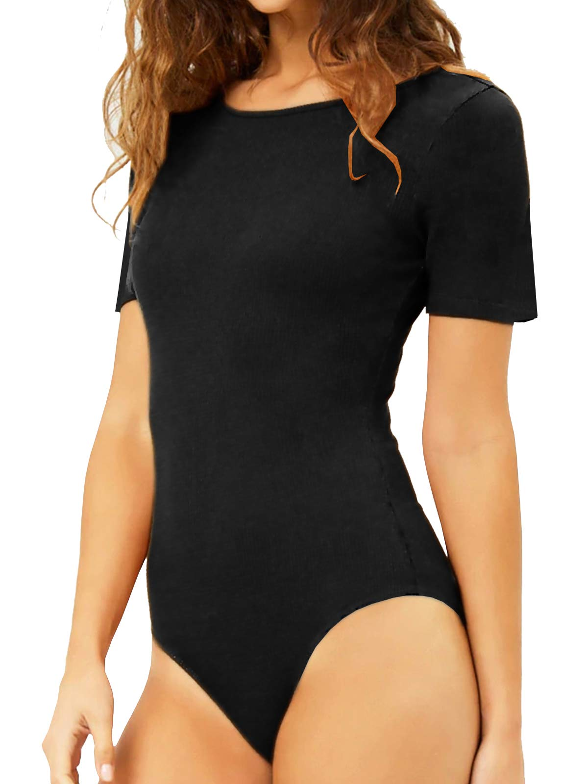 Mangdiup Womens Round Collar Short Sleeve Elastic Bodysuits Jumpsuits Black Xl