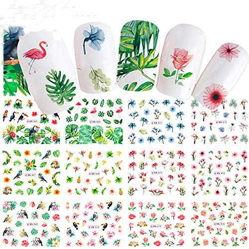 Taiguang Flower Leaf Flamingo Nail Art Stickers Water Transfer Manicure Decal -