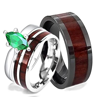 30a1816315 His and Hers Mens Black Ceramic Acacia Koa Wood Inlay and Sterling Silver  Green Marquise Engagement Wood Stainless Steel Wedding Rings Set (Size His  10, ...