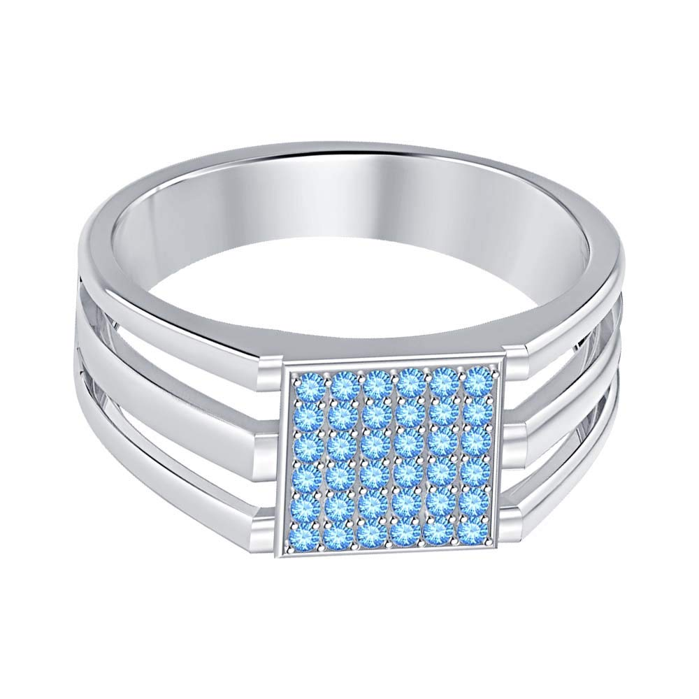 SVC-JEWELS 14k White Gold Plated 925 Sterling Silver Blue Topaz Cluster Engagement Wedding Band Ring Mens