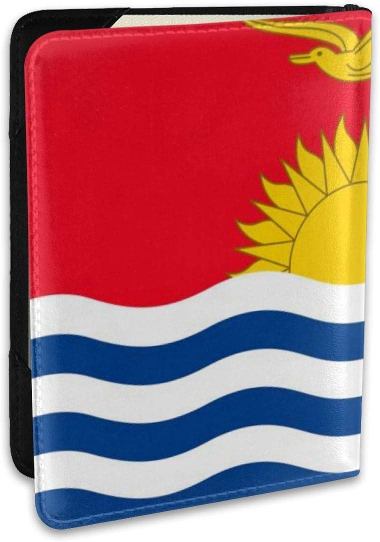 Flag Of Kiribati Fashion Leather Passport Holder Cover Case Travel Wallet 6.5 In