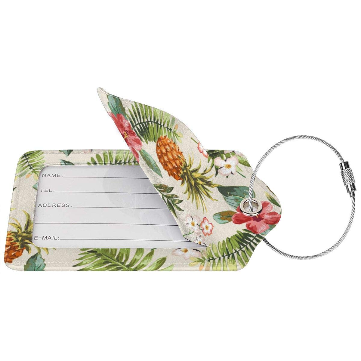 Seamless Tropical Flowers With Pineapple Travel Luggage Tags With Full Privacy Cover Leather Case And Stainless Steel Loop