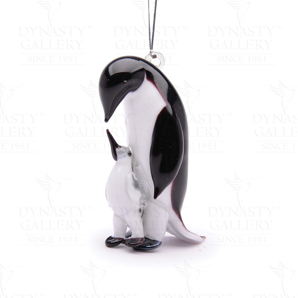 Dynasty Gallery Glassdelights Father and Baby Penguin Animals Glass Christmas Ornament