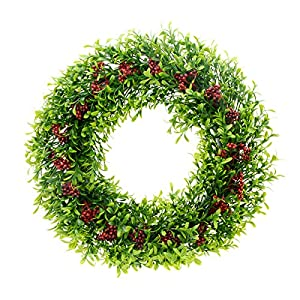 "Saim 15""-16"" Artificial Round Wreath Spring Front Door Wreath Greenery Garland Home Office Wall Wedding Decor 10"