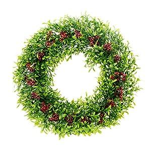 "Saim 15""-16"" Artificial Round Wreath Spring Front Door Wreath Greenery Garland Home Office Wall Wedding Decor 5"