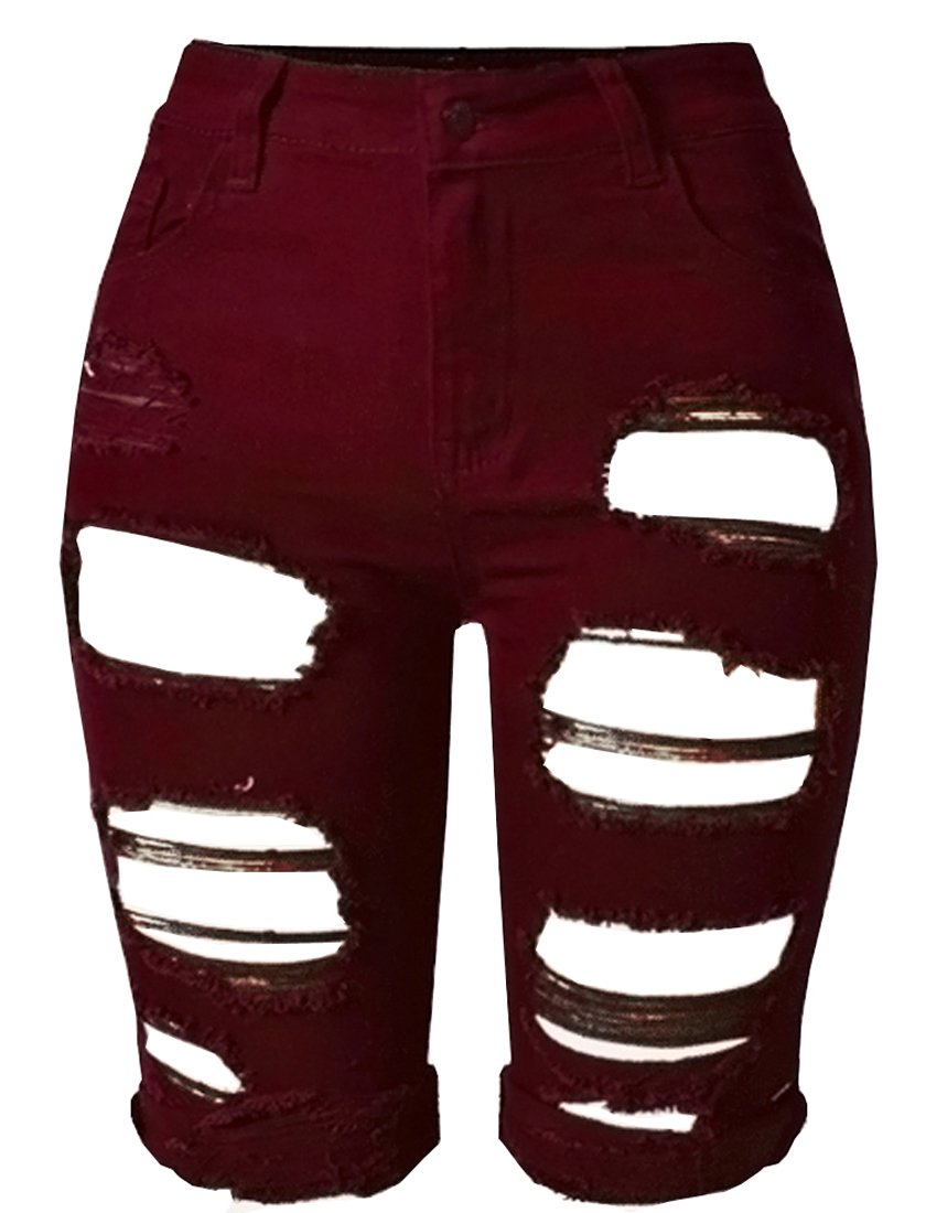 OLRAIN Womens High Waist Ripped Hole Washed Distressed Short Jeans 12 Wine Red