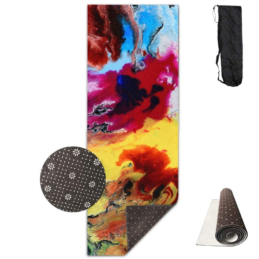 colorful Marble Pattern Premium Print Durable Concise Fun Printing Yoga Mat for Yoga, Workout, Fitness