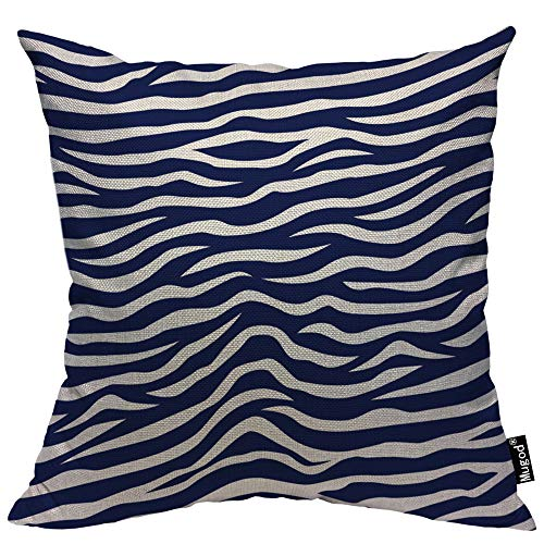 Mugod Wave Stripe Throw Pillow Case Animal Zebra Print Stripes Navy Blue and White Decorative Cotton Linen Square Cushion Covers Standard Pillowcase Couch Sofa Bed Men/Women 18x18 - Zebra Blue Cover