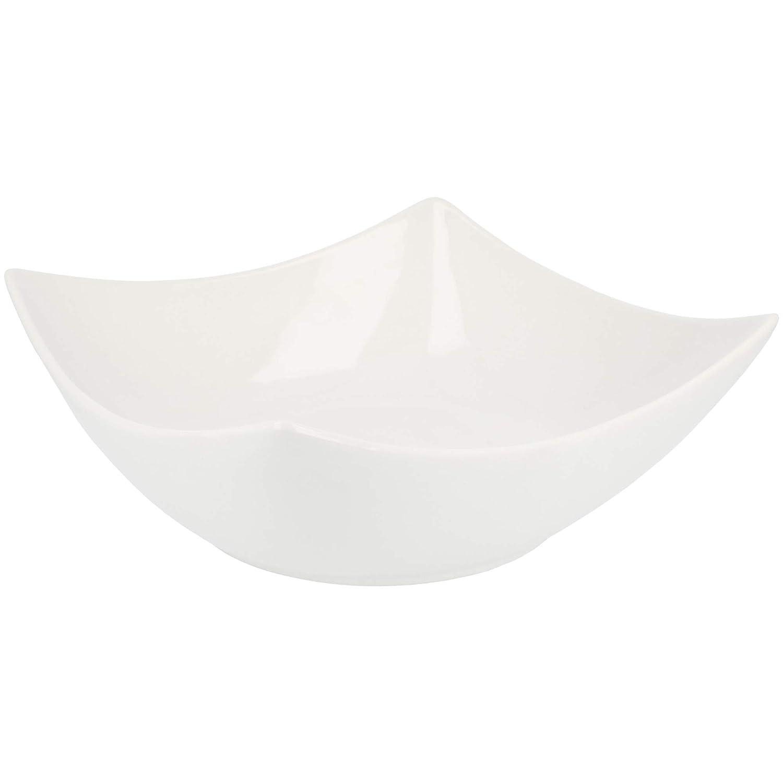 gro/ße Obstschale etwa 24 x 24 cm Salatsch/üssel mit abgerundeten Ecken com-four/® Keramiksch/üssel in Wei/ß