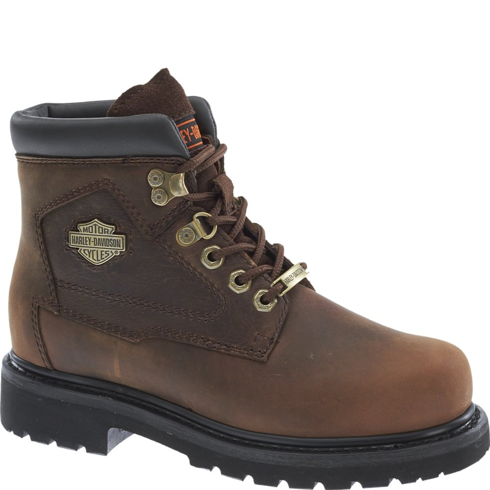380f7cadfd87 Harley Davidson BAYPORT Ladies Leather Lace Up Ankle Boots Brown   Amazon.co.uk  Shoes   Bags