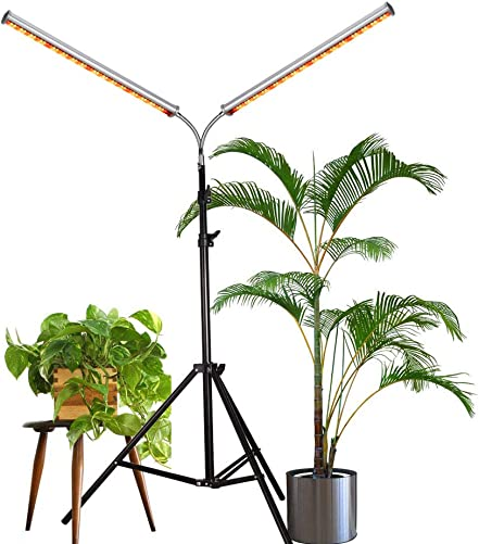 Aceple LED Grow Light, Two Heads Gooseneck 60W Floor Lamp Easy to Use for Growing Indoor, Hydroponic, Houseplants 60W Dual-Head