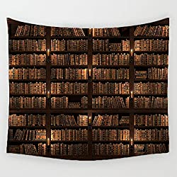 Bookshelf Full of Books Tapestry Wall Hanging Library Tapestries Study Room Scene Wall Art For Bedroom Living Room Dorm Decor 59X51 Inch