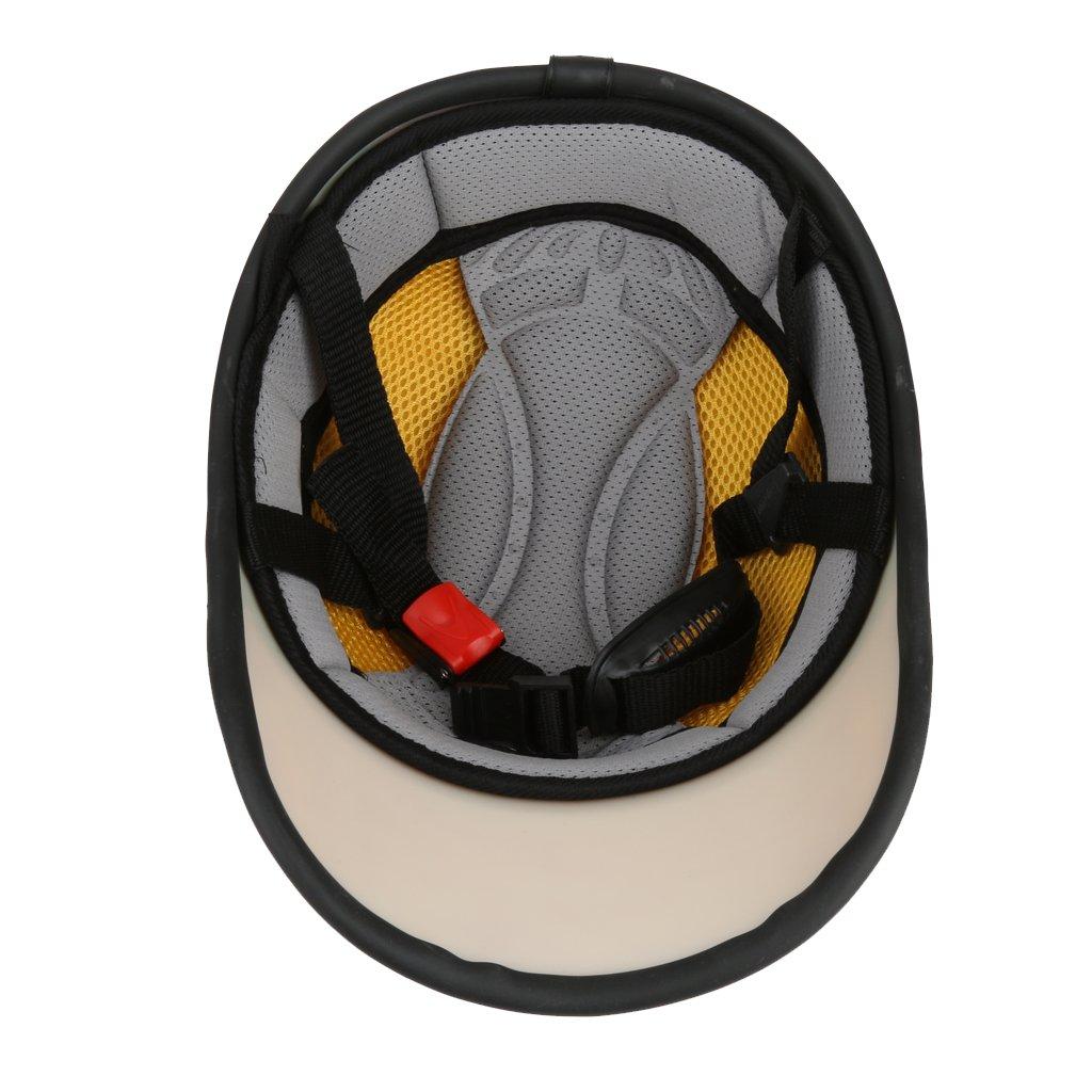 Amazon.es: Casco de Abierta Casquillo Sombrero Motocicleta Motocross Mitad Cara Visera Correa Ajustable Protección - Naranja claro