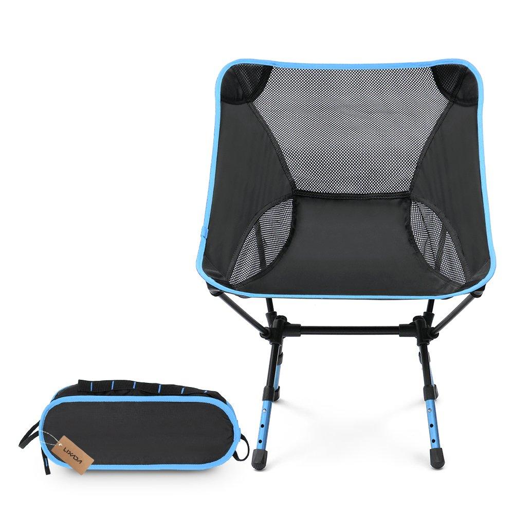Lixada超軽量折りたたみバックパッキングキャンプチェアChair with Carryバッグ&高さ調節可能ポータブルHeavy DutyメッシュQuad Chair forアウトドア釣りキャンプピクニックビーチレジャー B074648G88 ライトブルー ライトブルー