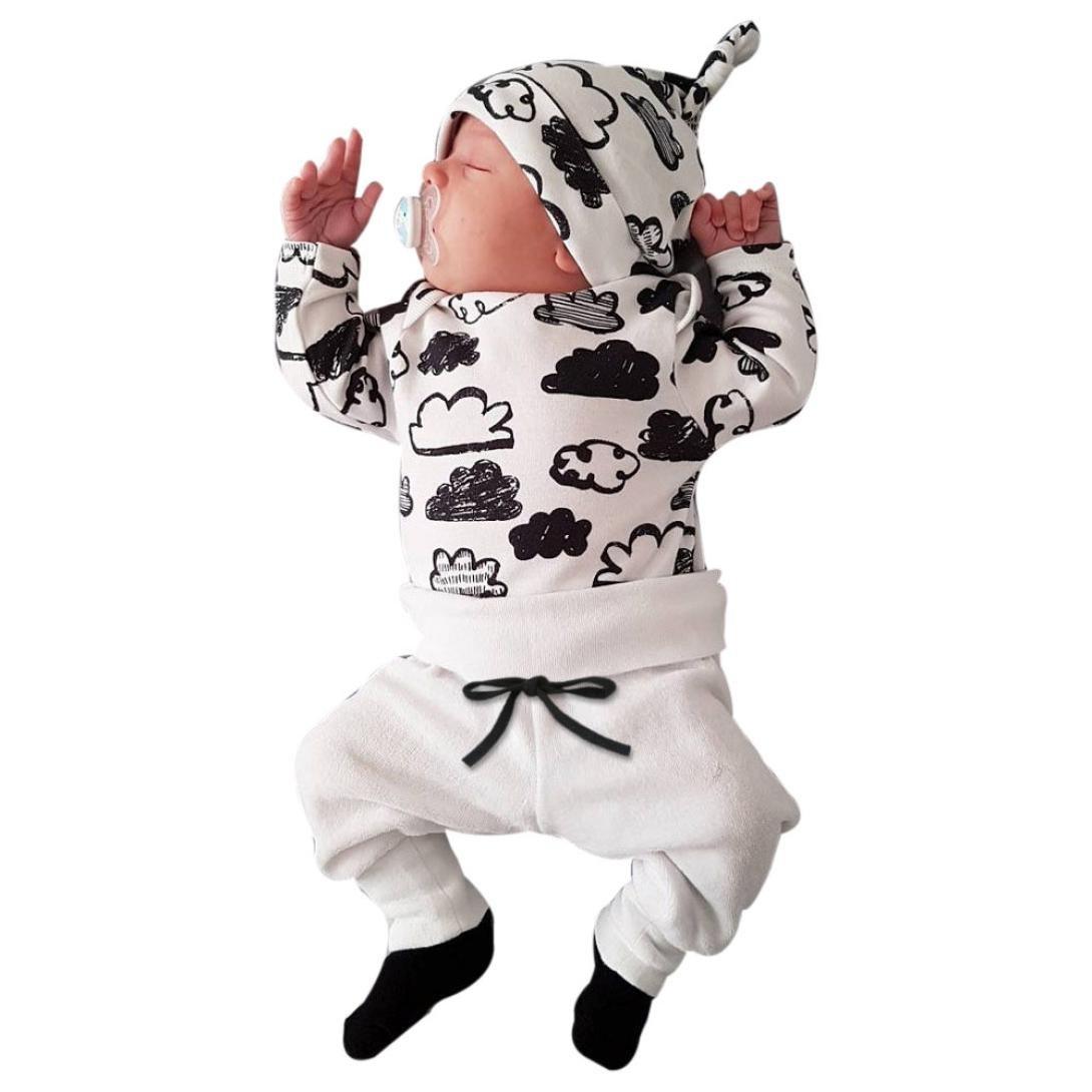 Xinantime ropa bebe nino recien nacido otoño Impresión de la nube blusa bebe niña manga larga Camisetas Bebé Conjuntos moda camisa + Pantalones + Sombrero (3 piezas) 0-2T (70(0-3meses), Blanco) Xinantime_3439