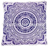 26x26 Euro Pillow Shams, Decorative Cushion Cover, Large Meditation Pillow, Ethnic Floor Cushion, Boho Mandala Pillow Cases (Pattern 3)