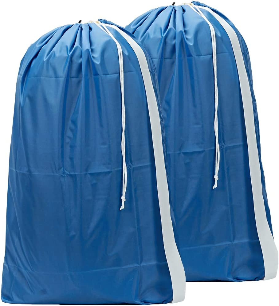 HOMEST 2 Pack XL Nylon Laundry Bag with Strap, Machine Washable Large Dirty Clothes Organizer, Easy Fit a Laundry Hamper or Basket, Can Carry Up to 4 Loads of Laundry, Light Blue, Patent Pending