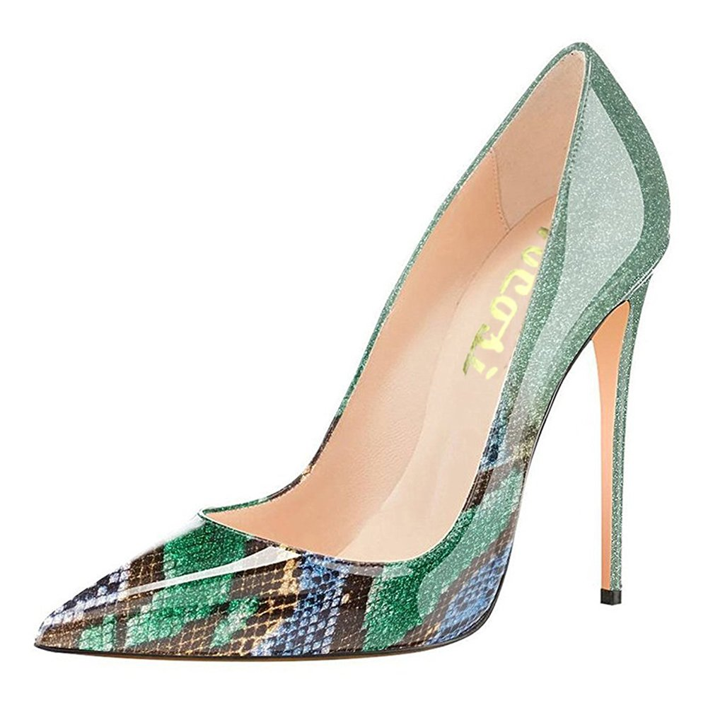 VOCOSI Pointy Toe Pumps for Women,Patent Gradient Animal Print High Heels Usual Dress Shoes B077GR5RFQ 12 B(M) US|Gradient Green to Snake Print With 12cm Heel Height
