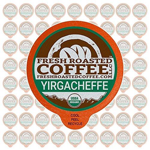 Fresh Roasted Coffee LLC, Organic Ethiopian Yirgacheffe Coffee Pods, Medium Roast, Single Origin, Fair Trade, USDA Organic, Capsules Compatible with 1.0 & 2.0 Single-Serve Brewers, 72 Count
