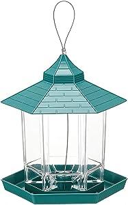 Hanging Bird Feeder Outside Hexagon Shaped Bird Food Feeder with Roof Avoid Weather and Water,for Garden Yard Decoration,Attract Birds Bird Watching,Wild Bird Feeder Kits (Green)
