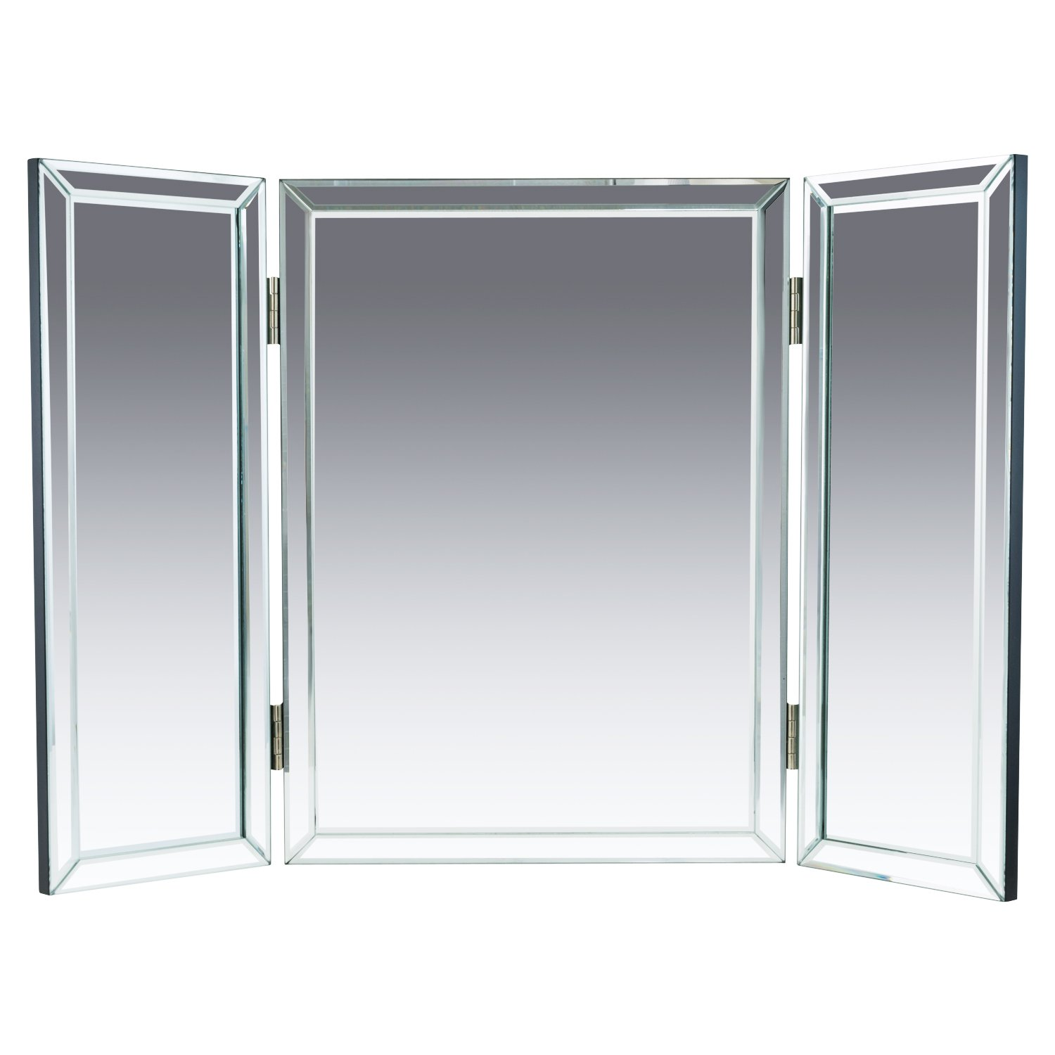 Houseables Trifold Vanity Mirror, 3 Way, 31'' x 1'' x 21'', Single, Tri Fold, Big Mirrors For Tables, Bedrooms, Bathroom, Makeup, Tabletop, Centerpiece, Three Part, With Beveled Edges by Houseables