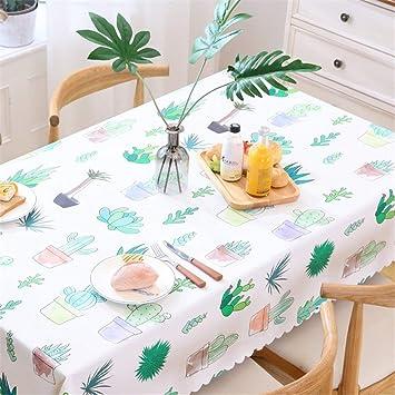 JIAO ES Mantel de plástico de PVC Cactus Impresión Mantel rectángulo Regular limpie Cena Limpia Mantel de Picnic/Varios Tamaños/Lavable (Color : A, ...