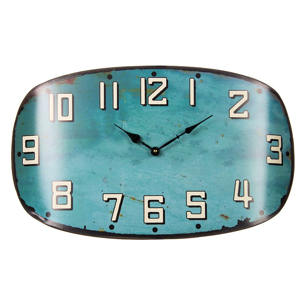 Glenna Jean Happy Camper Surf Shop Metal Wall Clock, Teal by Glenna Jean
