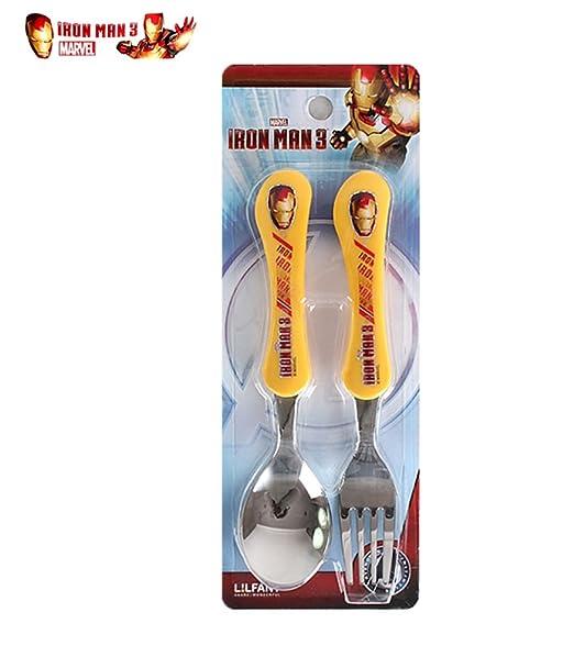 Amazon.com: Iron Man Niños Juego de cuchara, tenedor y fácil ...