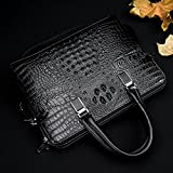 Mens Leather Briefcase Crocodile Pattern Handbag