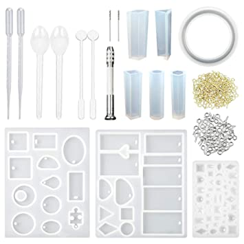 CCMART Moldes de resina y conjunto de herramientas, moldes de joyería de resina de silicona con 100 pernos de ojo de tornillo de resina colgante hacer ...