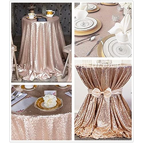 SoarDream 72 Inch Round Champagne Blush Sequin Tablecloth,Sequin Table  Cover,Sequin Table Overlays