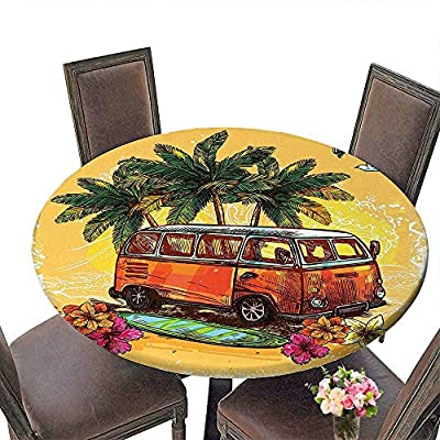 """Everyday Kitchen Tablecloth (Elastic Edge) suitable for all occasions, (29.5""""round)Surf Decor Hippie Classic Old Bus with Surfboard Freedom Holiday Exotic Life Sketch Style Art Red Green and Orange."""