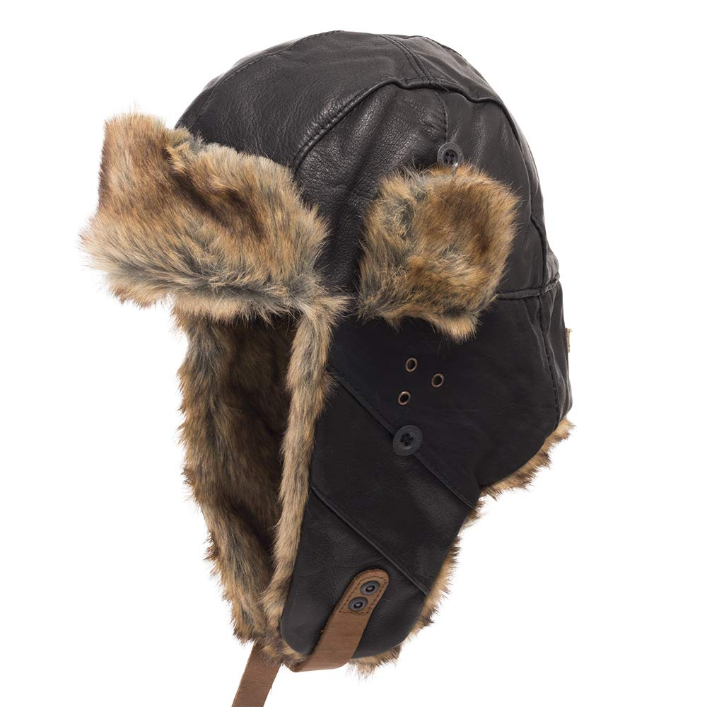 Australian Ushanka Trapper Genuine Leather Pilot Trooper Aviator Hat Men and Women Black 7 3/8