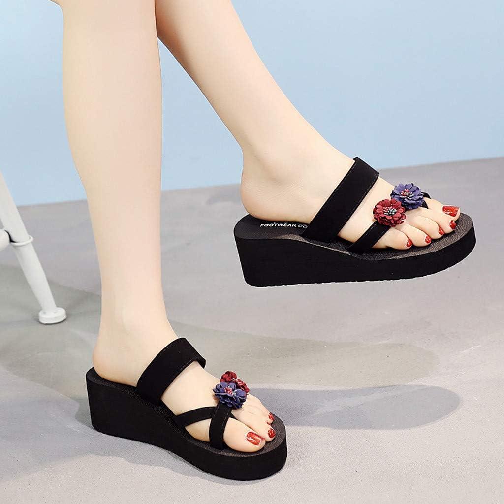 Womens Thong Sandals,Ladies Summer Bohemian Wedges Non-Slip Flip Flops Girls Platform Beach Cool Slippers