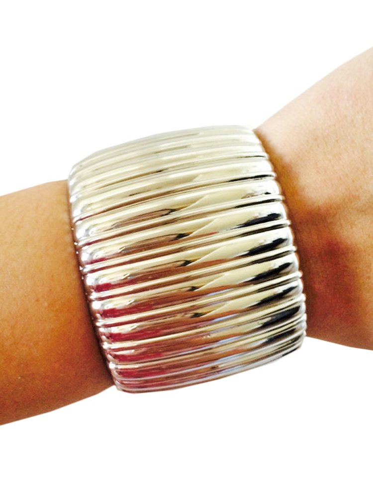 Fitbit Bracelet to protect and conceal Fitbit Flex and Flex 2 Fitness Activity Trackers - The BRITNEY Silver Bangle Wearable Tech Bracelet (Silver, Fitbit Flex)