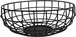 NIRMAN Rustic Fruit Bowl, Basket Holder for Kitchen Counters,Table Centerpiece, Farmhouse Decor, Party, Holiday Decoration, Vegetables Serving Bowls Iron Metal Wire, Round Shape Bowl Basket (10