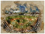 Atlas Detroit Tigers Poster Watercolor Art Print 12x16 Wall Decor