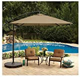 8 Foot Square Cantilever Umbrella Vented Tilting Canopy Great For A Balcony – Deck – Patio Or Indoor Outdoor Pool Includes Cross Umbrella Stand Review