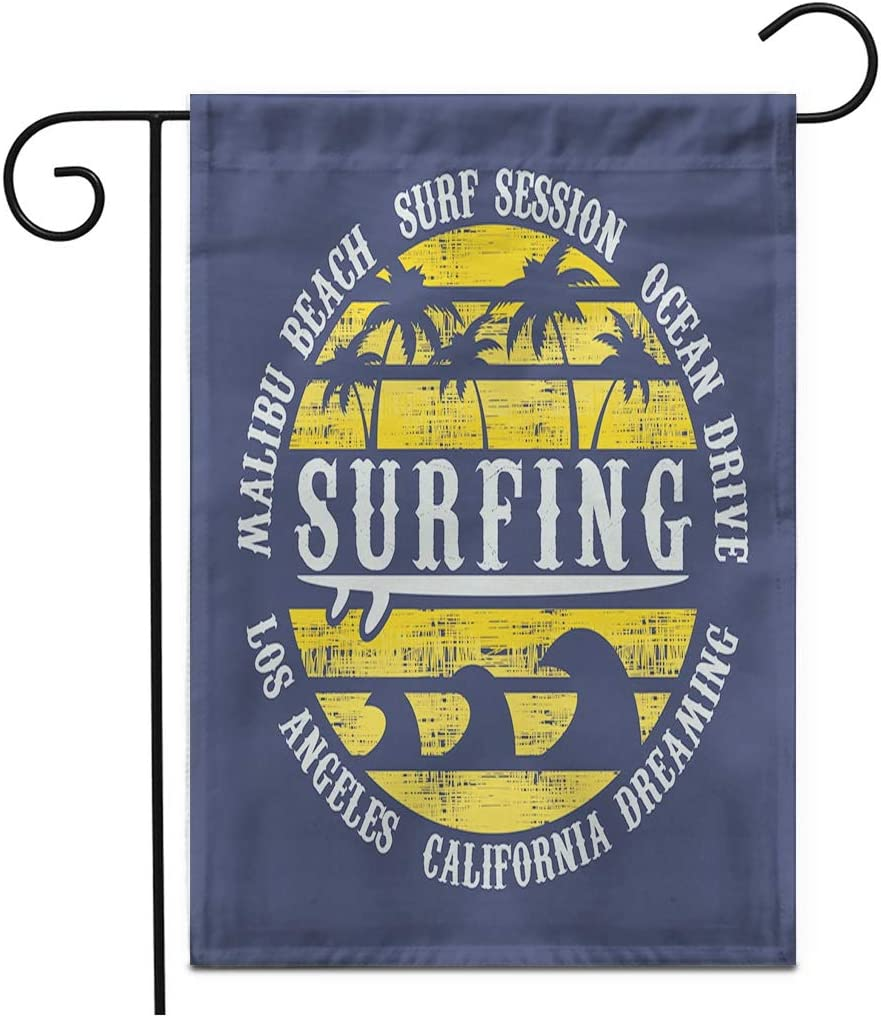 """Adowyee 28""""x 40"""" Garden Flag Surf and Surfing in California Malibu Beach Vintage Outdoor Double Sided Decorative House Yard Flags"""