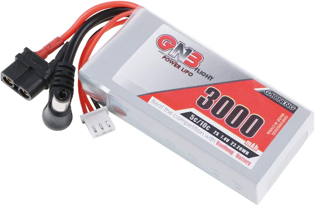 GAONENG 3000mAh 2S LiPo Battery 7.4V Fatshark D JI Goggles Battery Pack with XT60 Plug for HD Goggles Hobby Wireless FPV RC Receiver